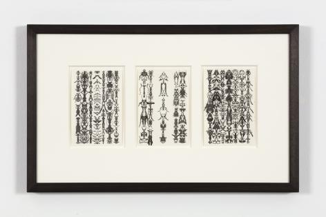Bruce Conner TRIO 53-12-3, 1975 ink each card: 6 x 4 in. (15.2 x 10.2 cm) frame: 13 1/4 x 21 1/4 in. (33.7 x 54 cm)