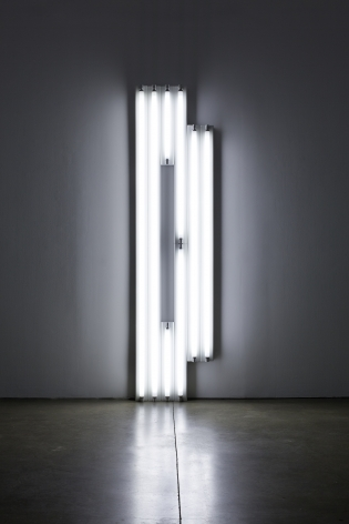 "Installation view of Dan Flavin's ""monument"" for V. Tatlin, from 1967, cool white fluorescent light, 96 x 24 x 4 1/4 in. (243.8 x 61 x 10.8 cm)"