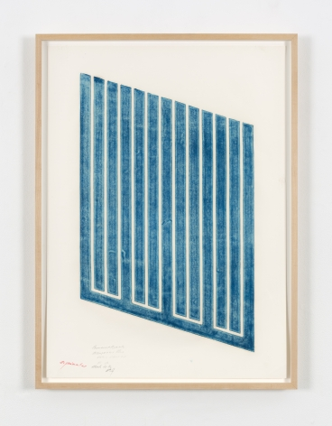 Donald Judd's Untitled (13-R), a woodcut in manganese blue on cartridge paper from 1961-1969. Framed it measures 33 x 24 in. (83.8 x 61 cm)