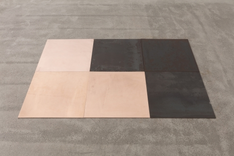 Carl Andre  CuFe Triplets, 2018  3 copper plates, 3 steel plates  6-unit (2 x 3) rectangle on floor; one steel right-angle triangle interlocking with one copper right-angle triangle