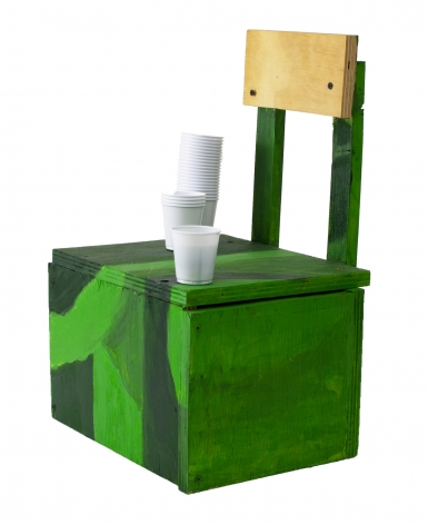 Holly Harrell  Forbidden Soda Stand 1, 2020  Wood, paint, plastic cup, resin