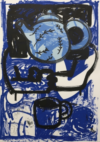 Gronk, Invasion of Dixie Cup: Blue China, 1990, Lithograph
