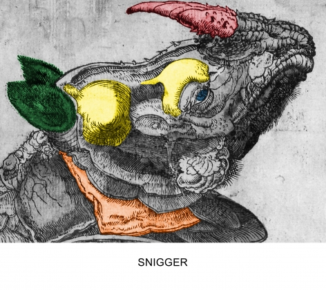 John Baldessari, Engravings with Sounds: Snigger, 2015, Archival inkjet print
