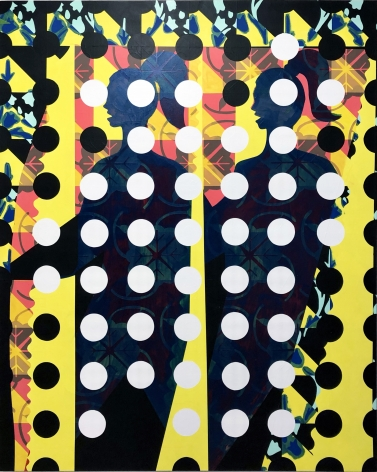 Acrylic on canvas painting of two female figures with ponytails under a pattern of dots by Alex Heilbron