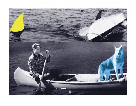 Man, Dog (Blue), Canoe/Shark Fins (One Yellow), Capsized Boat, 2002