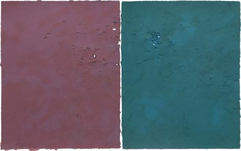 Joe Goode  Gunshot Series, No. 5, 1981  Lithograph with gunshot impression by artist (diptych)