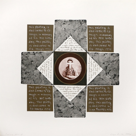 Llyn Foulkes In Memory of F.G. Hough no. 2, 1974 Lithograph, hand-painted appliqué