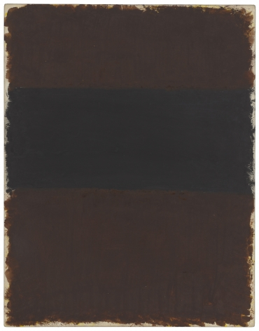 Mark Rothko, Untitled (Brown and Black), 1968, acrylic on paper mounted on board, 33 1/4 x 25 3/4 inches (84.5 x 65.4 cm) © 2020 by Kate Rothko Prizel and Christopher Rothko