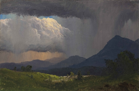 Frederic Edwin Church, Mountainside Downpour, 1871, oil on paper laid down on canvas, 6 1/2 x 10 inches (16.5 x 25.4 cm)
