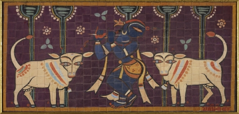Jamini Roy  Untitled (Krishna and Cows)