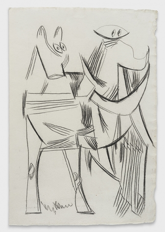 K.S. Kulkarni, Untitled (Abstracted Horse and Figure)