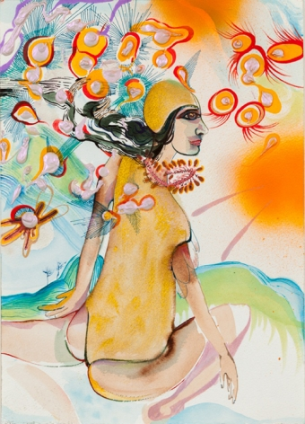Rina Banerjee, Where I came from was water and salt and this is where I will go with bangles to tackle my human opponents and tangles of hair that snaked out of air her tongue and yours will know when to play with water, mountain and or air this no human laws shall come to rule