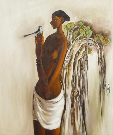 B. Prabha Untitled (Woman and Bird)