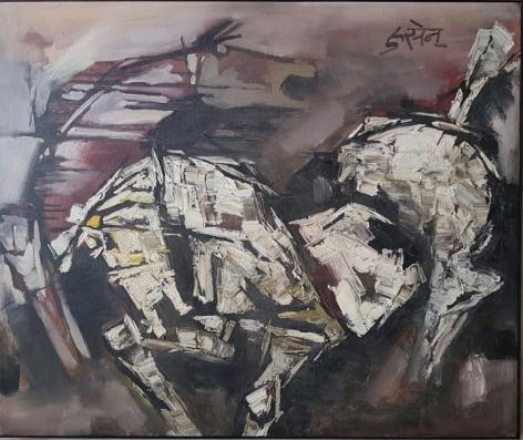 M.F. Husain Untitled (Two Horses)