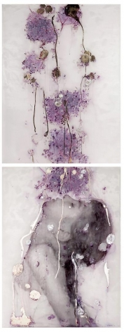 Elderberries carved, engraved, silvered and painted plexiglass, paper