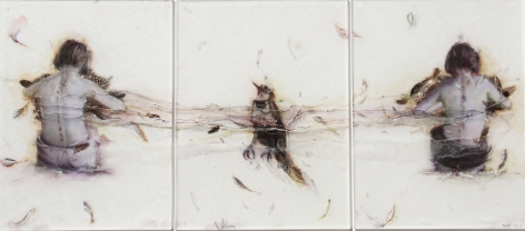 Making Birds carved, engraved, silvered and painted plexiglass, feathers, paper