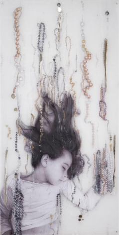 Sophie carved, painted, and mirrored acrylic glass, silver and gold leaf applications, paper and photograph