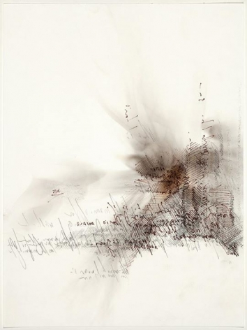 Mumur, Whisper smoke and graphite, backwards script on rag paper