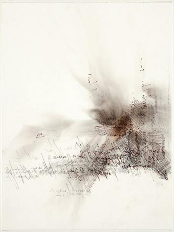 Mumur, Whisper smoke and graphite, backwards script on rag paper