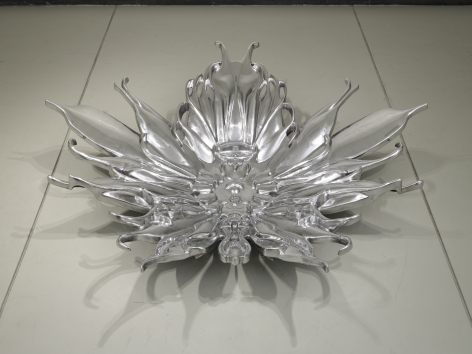 E.V Day, Pollinator (Water Lily) Cast and polished aluminum. 17 1/4h x 72w x 72d in at Baldwin Gallery, Aspen, CO