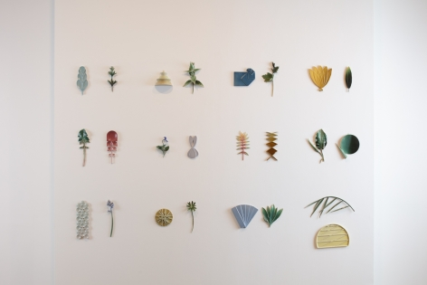 "Marianne Nielsen,(Danish, b.1971).Pair(Wall Installation), 2018.51.25"" H x 78.75"" W.Glazed stoneware. Photo Joe Kramm"