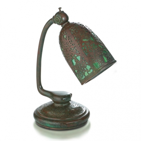Etched Metal and Glass Reading Lamp
