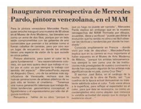 Inauguraron retrospectiva de Mercedes Pardo, pintora venezolana, en el MAM