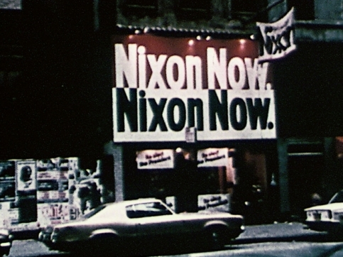 Kriwet film still car and Nixon sign