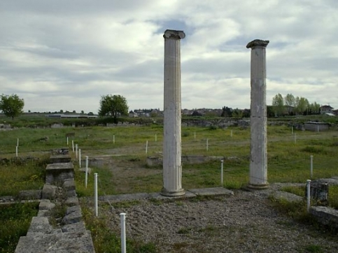2 ancient columns in landscape