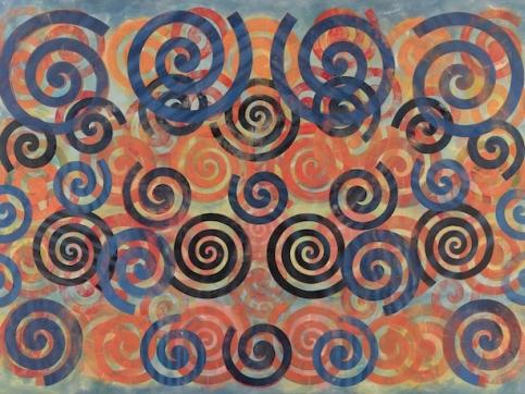 Taaffe Choir painting with blue spirals