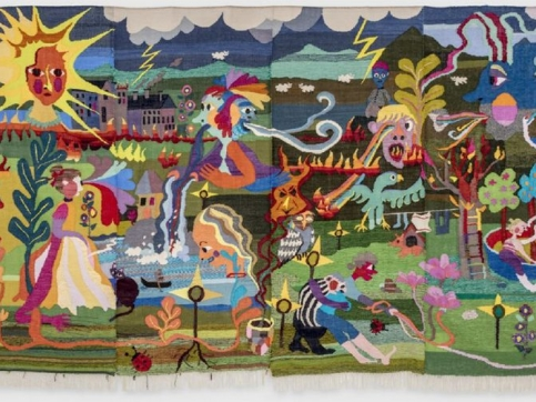 Tapestry depicting people and animals in landscape