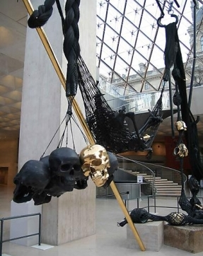Sculpture installation with skulls