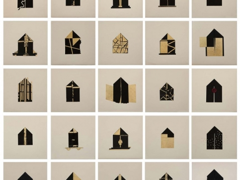 Zarina woodcut set of houses