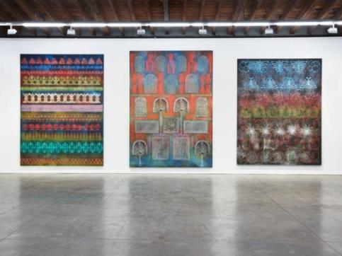 3 Taaffe paintings on wall