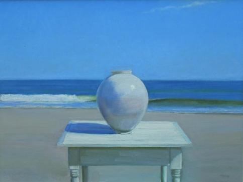Frank Trefny, Oil On Canvas, Vase And Ocean