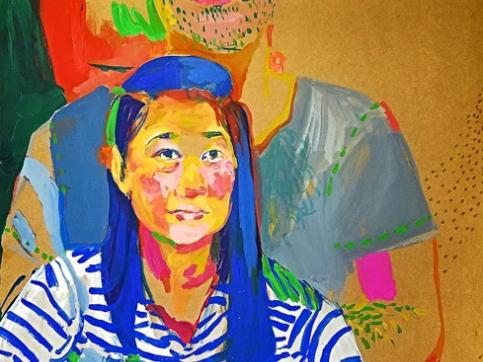 Mickayel Thurin, Double Portrait, Acrylic On Canvas