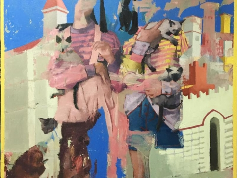 Joseph Lozano, Holding Cats, Oil On Canvas