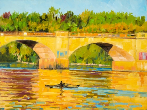 Elaine Lisle, Rowing on the River, Oil On Canvas