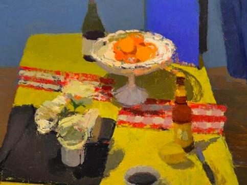 Elizabeth Geiger, Oranges With Blue Binder, Oil On Canvas