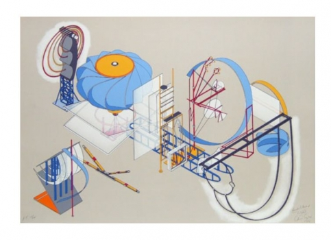 Silkscreen print of a machine-like structure with light cool tone colours by Alice Aycock