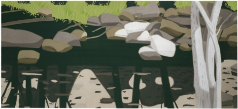 Alex Katz aquatint in four colors featuring a landscape scene with stones and grass