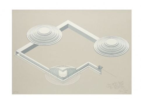 Silkscreen print of a architectural tunnel structure with three layered disks by Alice Aycock