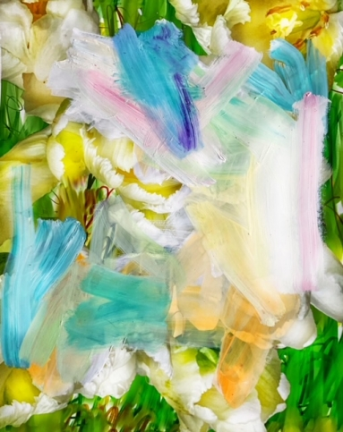 Abstract painting with wide, layered, brightly-coloured brushstrokes by Alexandra Penney