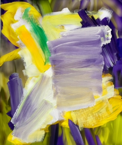 Abstract painting with wide white, black, yellow, green, and purple brushstrokes by Alexandra Penney