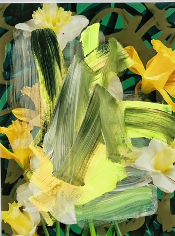 Photograph of daffodils painted over with wide, brightly-coloured brushstrokes by Alexandra Penney