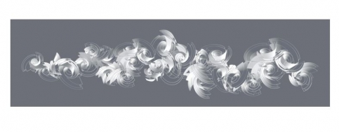 Digital inkjet print on paper showing white abstract 3D shapes on a grey background by Alice Aycock
