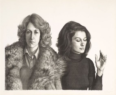 Claudio Bravo lithograph featuring two women: one wearing a fur coat and the other a turtleneck