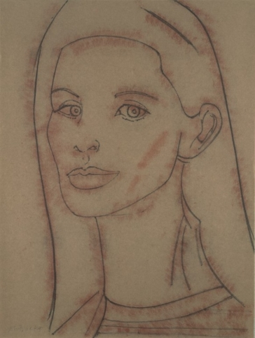 Soft-ground etching in two colors print by Alex Katz featuring a portrait of a woman at 3/4 view