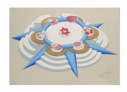 Silkscreen print of an architectural structure with light cool-tone colours with the The Star of David at the centre by Alice Aycock