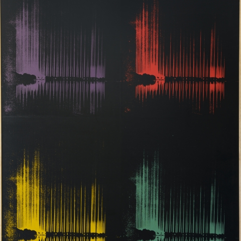 Multi colored acrylic and silkscreen on canvas painting by Andy Warhol